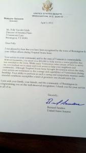 Letter from Bernie Sanders