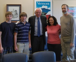 Taylor, Austin and Dale Cobb with Bernie Sanders. I'm in pink