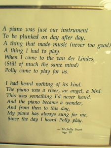 Piano Poem by Michelle Pecot