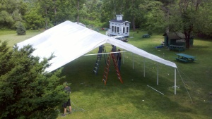 The tent is being assembled