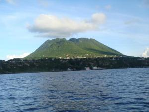The terrain on Eustatia. Mom's house is the highest white dot